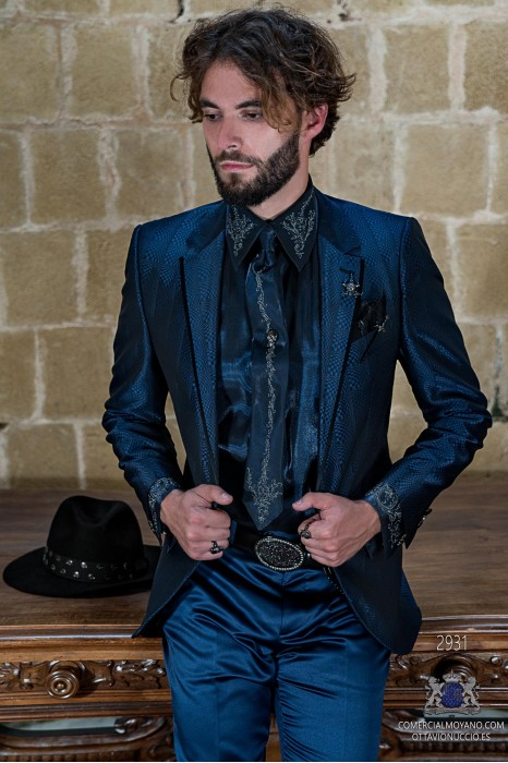 Blue rocker groom suit with black psychedelic brocade and black satin profile on lapels