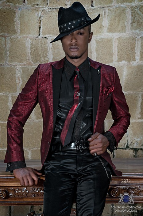 Red rocker groom suit with black psychedelic brocade and black satin lapels