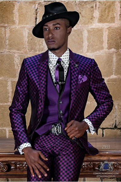 Purple rocker groom suit with black Op-art checkered brocade and contrast profile on lapels