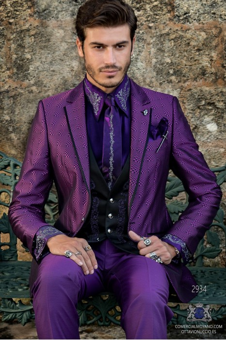 Purple rocker groom suit with black psychedelic brocade and black satin profile on lapels