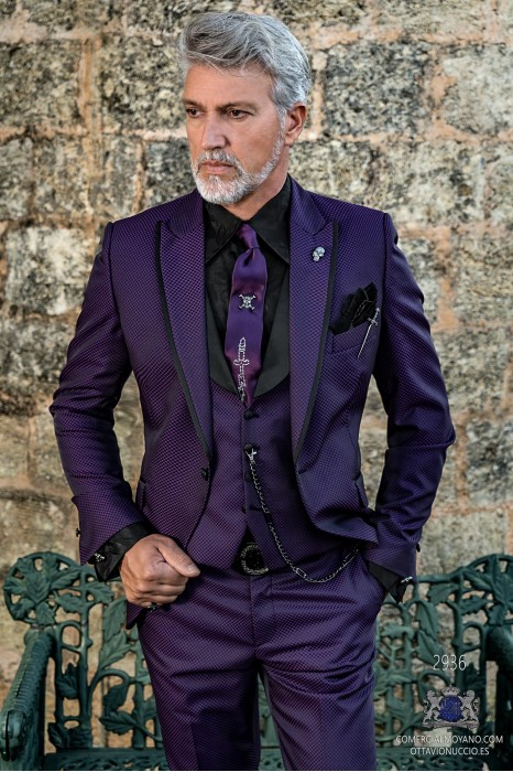 Purple rocker groom suit with black polka dot brocade and black satin profile on lapels