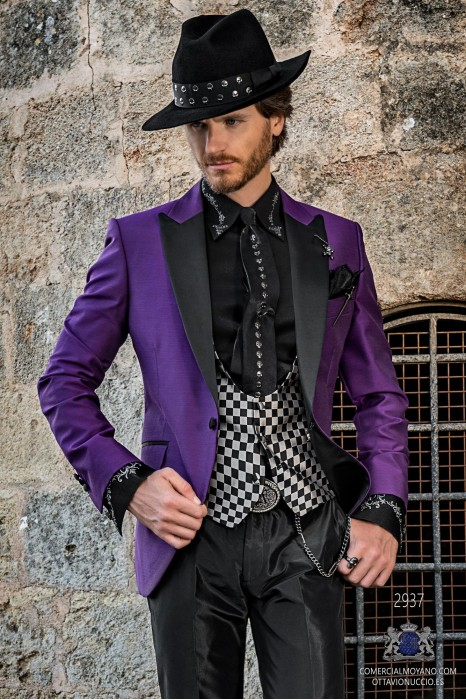 Purple shantung rocker groom suit with black satin peak lapels