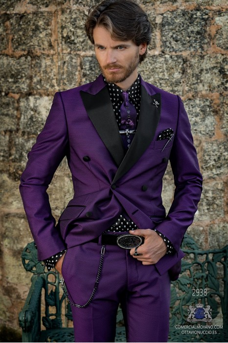 Purple rocker groom double-breasted suit with black microdesigns brocade and black satin lapels