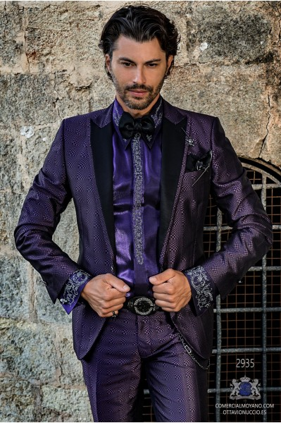 Purple rocker groom suit with black psychedelic brocade and black satin lapels