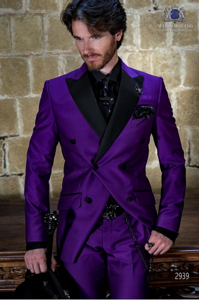 Purple shantung rocker groom double-breasted suit with black satin lapels