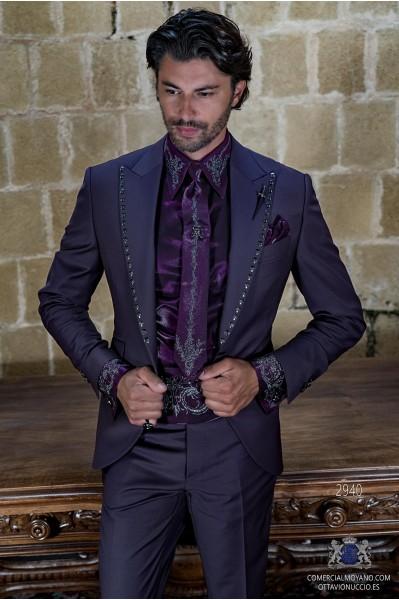 Mauve rocker groom suit with skull appliques on lapels