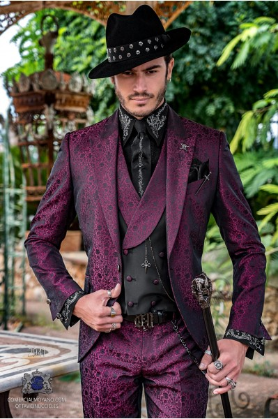 Fuchsia rocker groom suit with black gothic floral brocade tailored italian cut