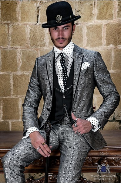 Silver optical rocker groom suit with black satin profile on lapels
