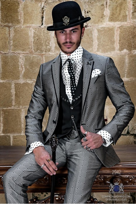 Silver rocker groom suit with black psychedelic brocade and black satin profile on lapels