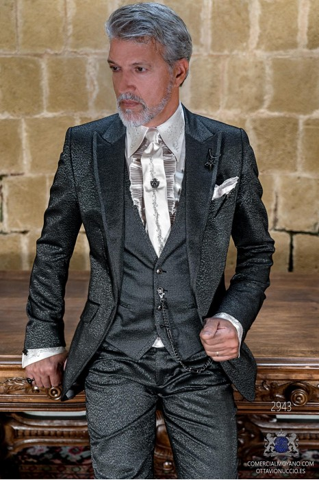 Gray metallic lurex rocker groom suit with contrast lapels profile
