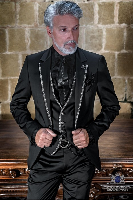Black rocker groom suit with silver gothic profile on lapels