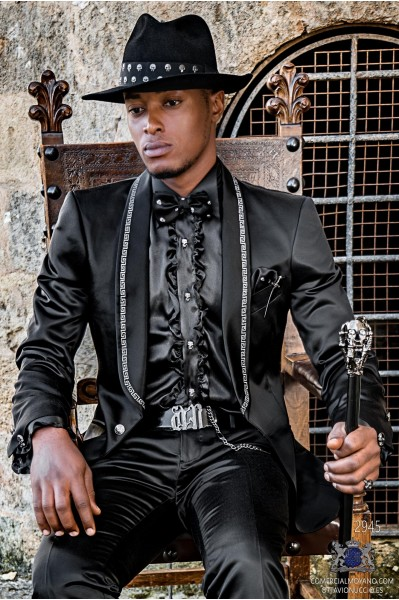 Black satin rocker groom suit with silver gothic profile on shawl collar