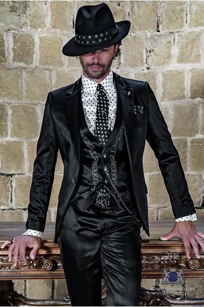 Black satin rocker groom suit with modern tailored italian cut