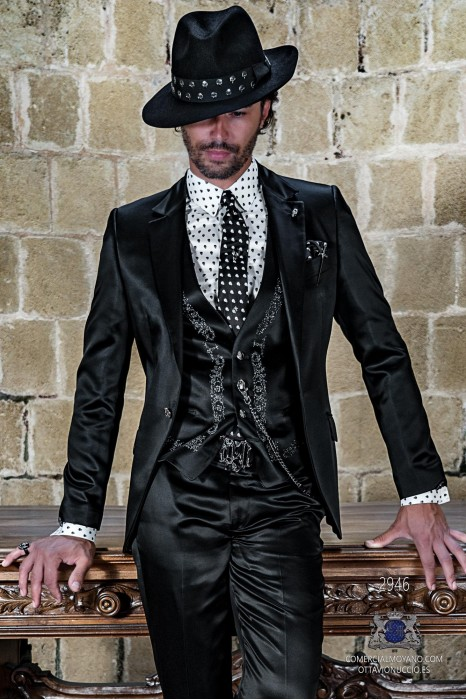 Black satin rocker groom suit with modern tailored italian cut