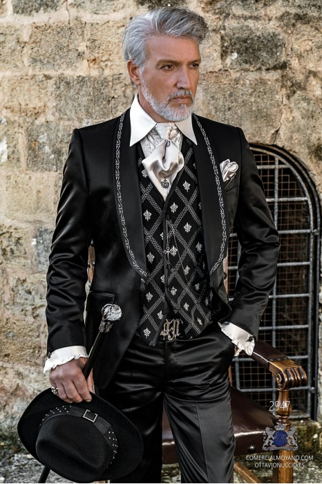 Black satin rocker groom suit with silver gothic profile on lapels