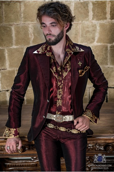 Red metallic lurex rocker groom suit modern tailored italian cut
