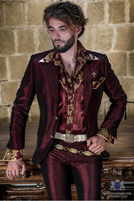 Red metallic lurex rocker groom suit modern tailored italian cut