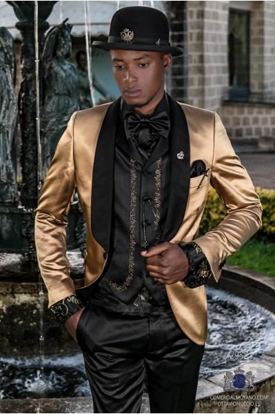 Golden satin men's fashion party blazer with black satin shawl collar
