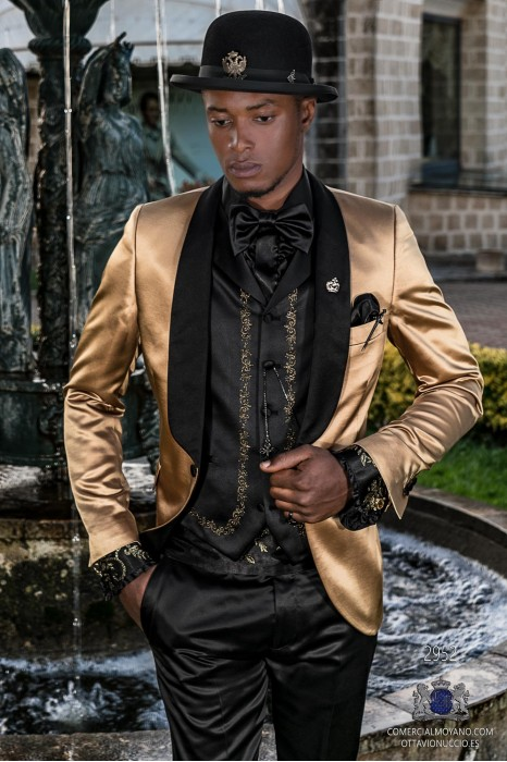 Golden satin men's fashion party blazer with black satin shawl collar