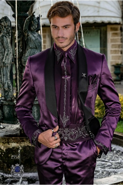 Purple satin men's fashion party blazer with black satin shawl collar