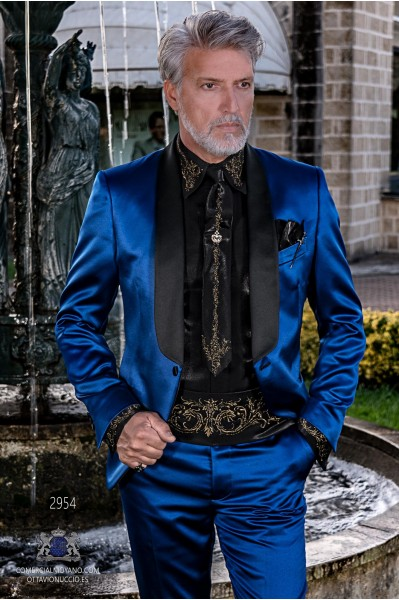 Blue satin men's fashion party blazer with black satin shawl collar