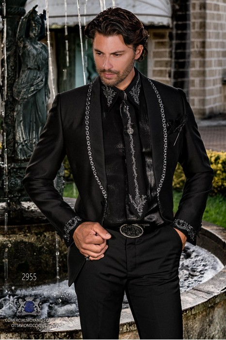 Black men's fashion party blazer with black rhinestones on shawl collar