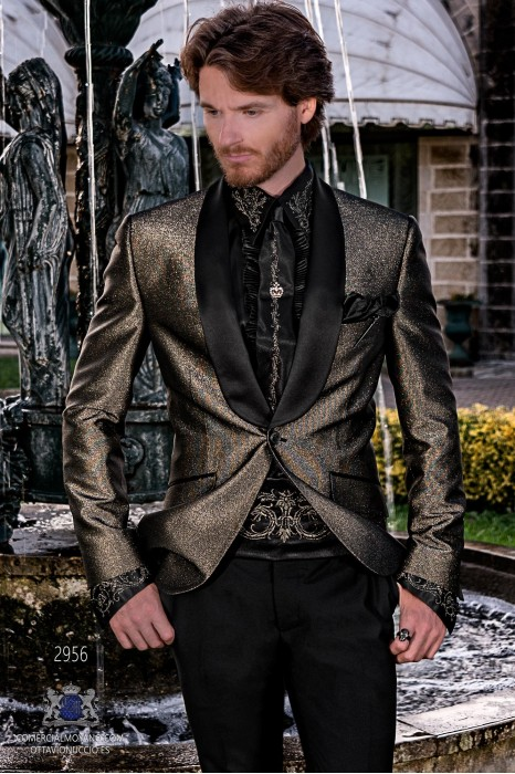 Gold metallic lurex men's fashion party blazer with black satin shawl collar