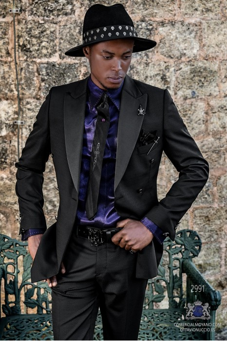 Black microdesigns rocker groom double-breasted suit with black satin lapels