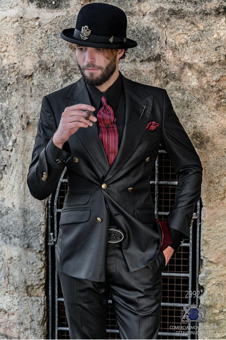 Black with red pinstripe rocker groom double-breasted suit