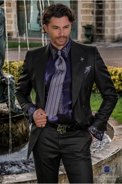 Black with silver pinstripe rocker groom double-breasted suit