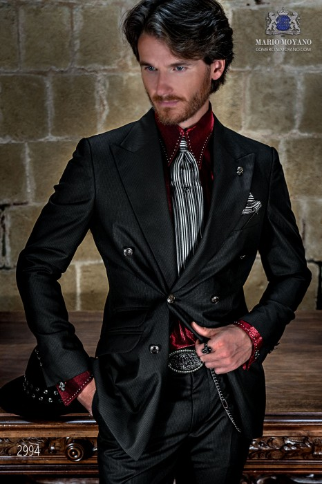 Black with silver stripes rocker groom double-breasted suit tailored italian cut