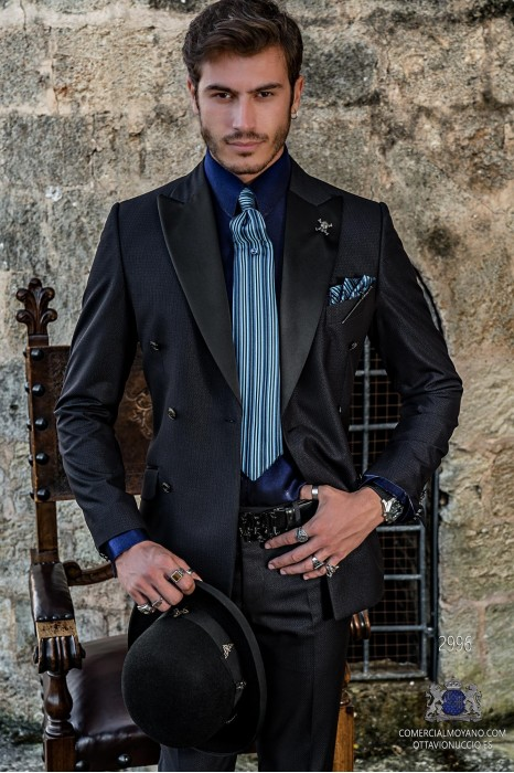 Blue rocker groom double-breasted suit with lurex microdesigns and black satin lapels
