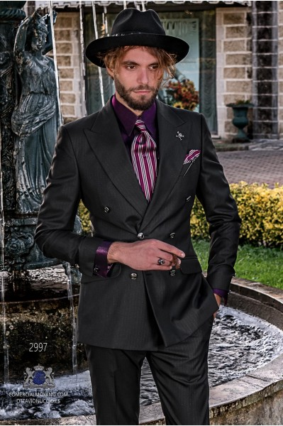 Black with lurex silver pinstripe rocker groom double-breasted suit