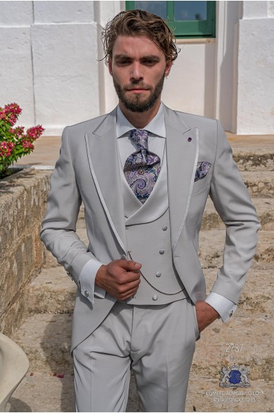 Light grey tailored fit italian men wedding frock-coat with contrast profile on lapels