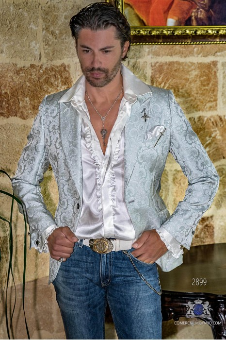 Light grey floral brocades men's fashion party blazer modern tailored Italian cut