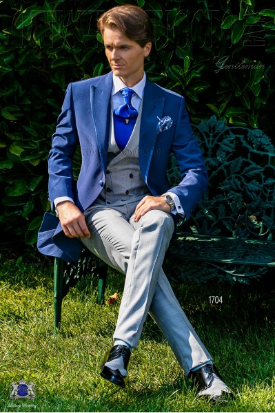 Royal blue morning suit with Prince of Wales trousers