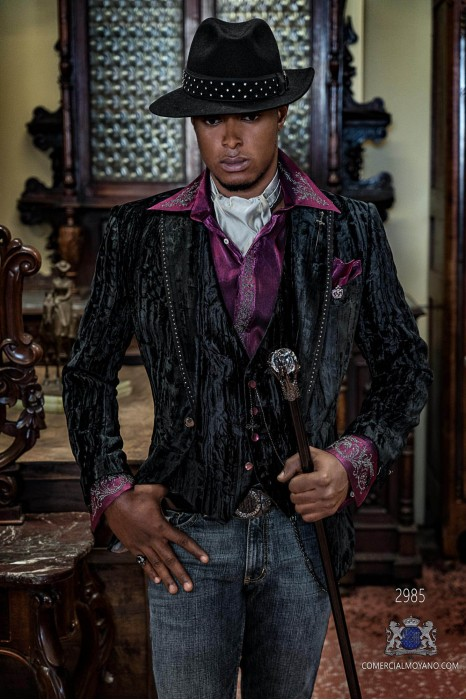 Black velvet men's fashion party blazer with strass on lapels