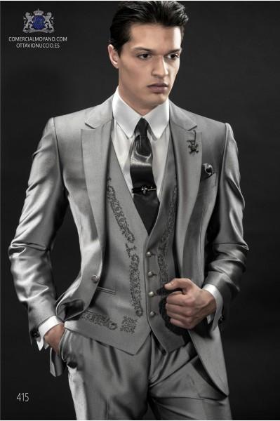 Gray metallic effect men wedding suit classic fit