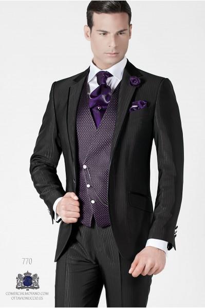 Italian black pinstripe men wedding suit