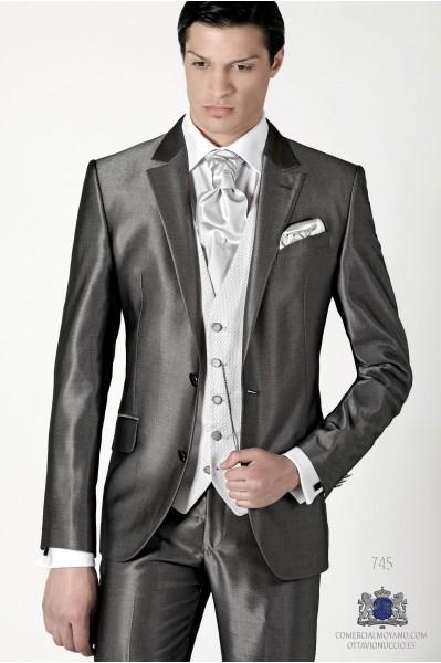 Gray metallic effect men wedding suit regular fit