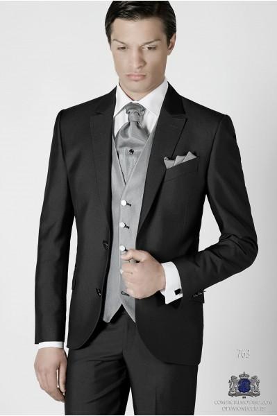 Gray men wedding suit two buttons regular fit
