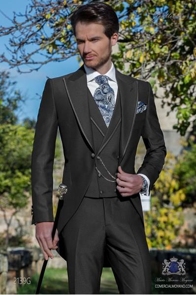 Dark grey morning suit peak lapel with satin profile