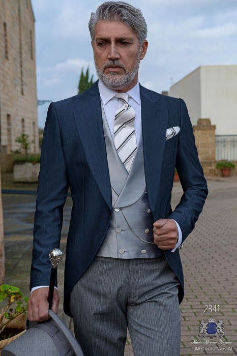Blue morning suit mohair wool mix alpaca with pinstripe trousers