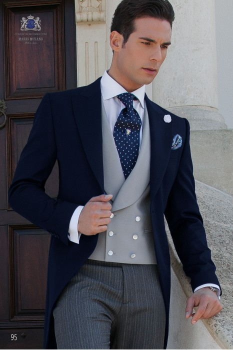 Pure wool Navy blue wedding morning suit