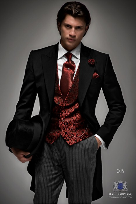 Bespoke black groom morning suit
