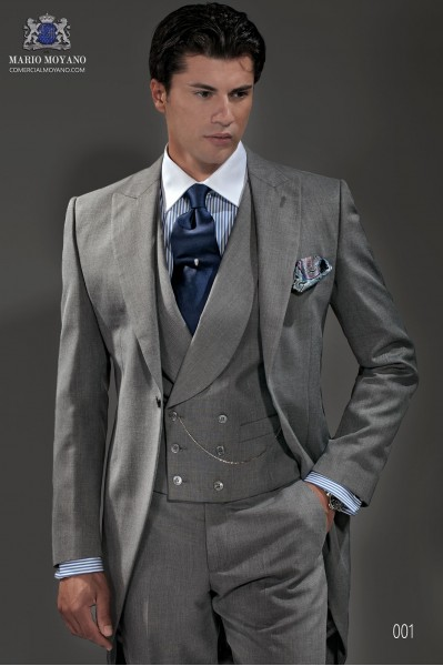 Light grey end-on-end wool blend tailored fit morning suit