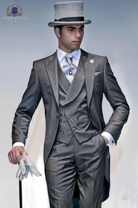 Light gray fil a fil wedding morning suit
