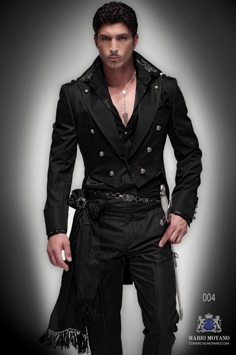 Black jacquard silk steampunk tailcoat tailored slim fit