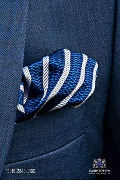 Pure silk blue striped silver handkerchief