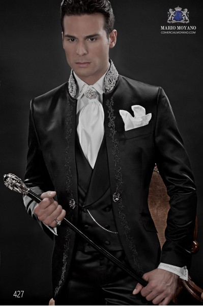 Black satin gothic frock coat for groom with black embroidery
